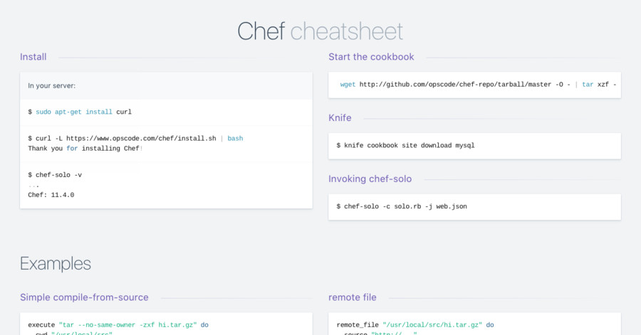 Chef cheatsheet