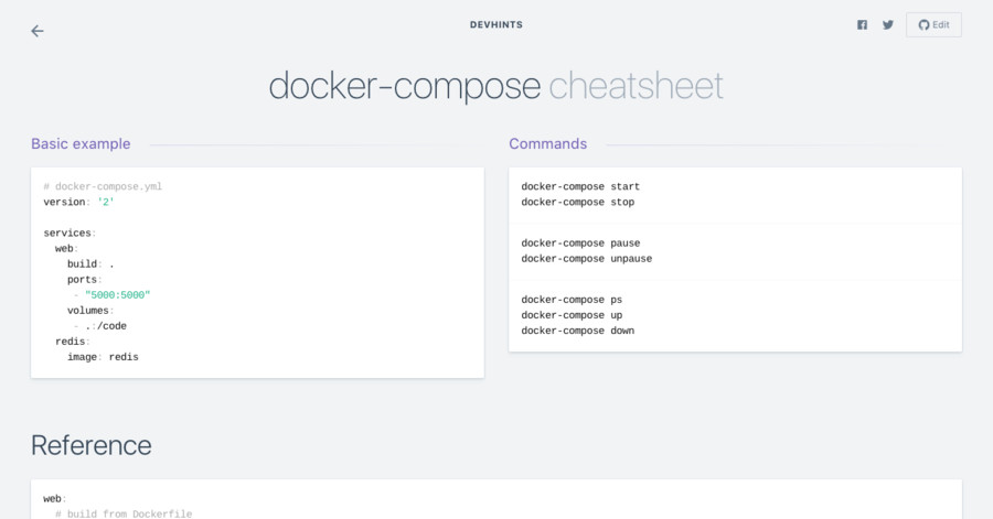 docker-compose cheatsheet