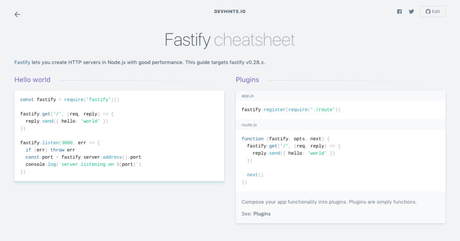 Fastify cheatsheet