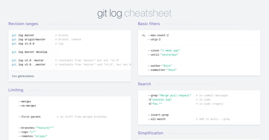 git log cheatsheet