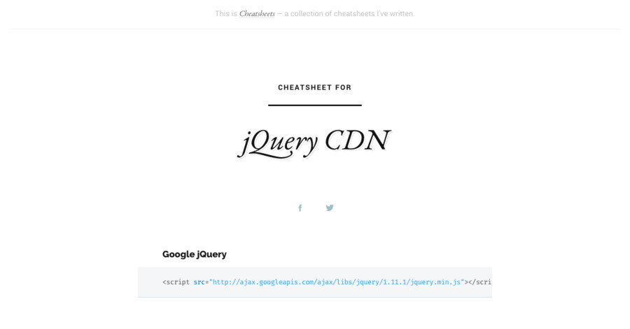 jQuery CDN cheatsheet