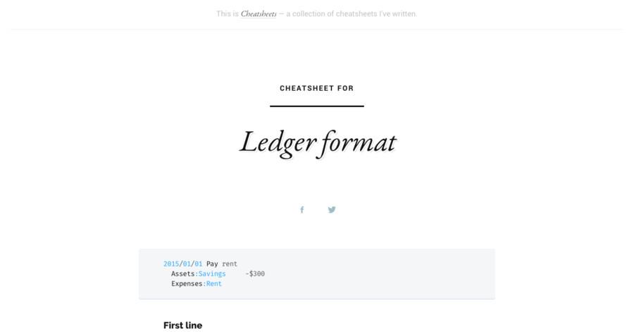 Ledger format cheatsheet