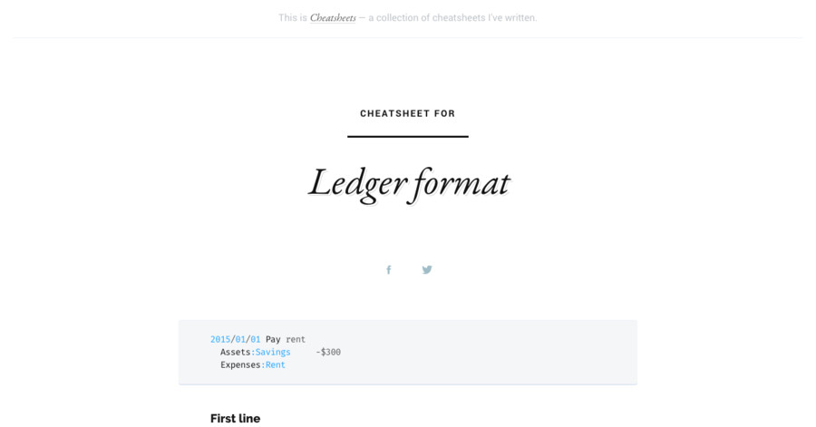 Ledger format cheatsheet – Ledger Format