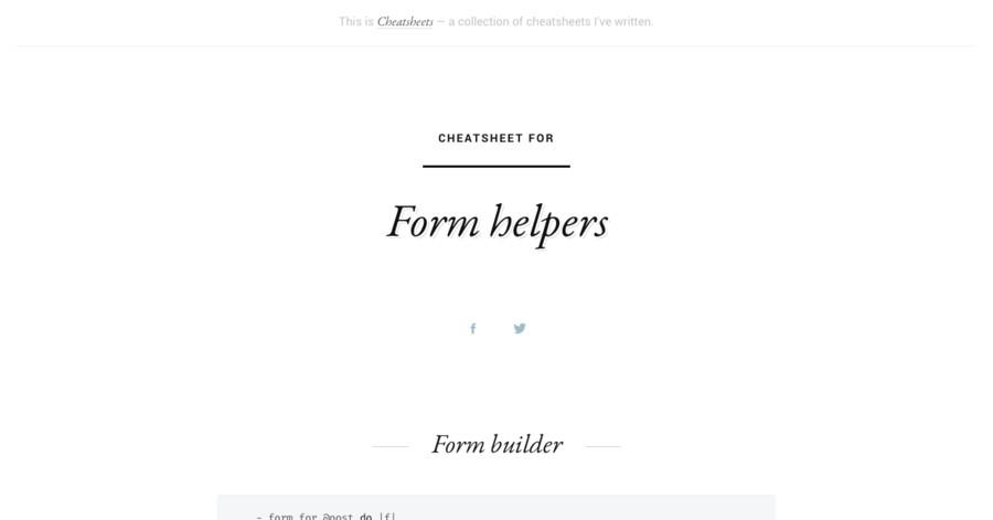 Form helpers cheatsheet