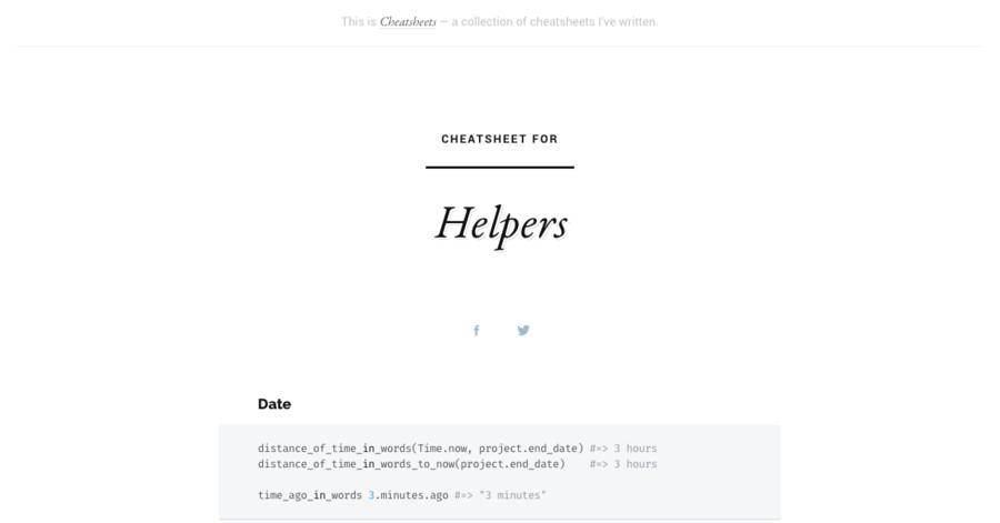 Helpers cheatsheet