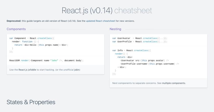 React js (v0 14) cheatsheet