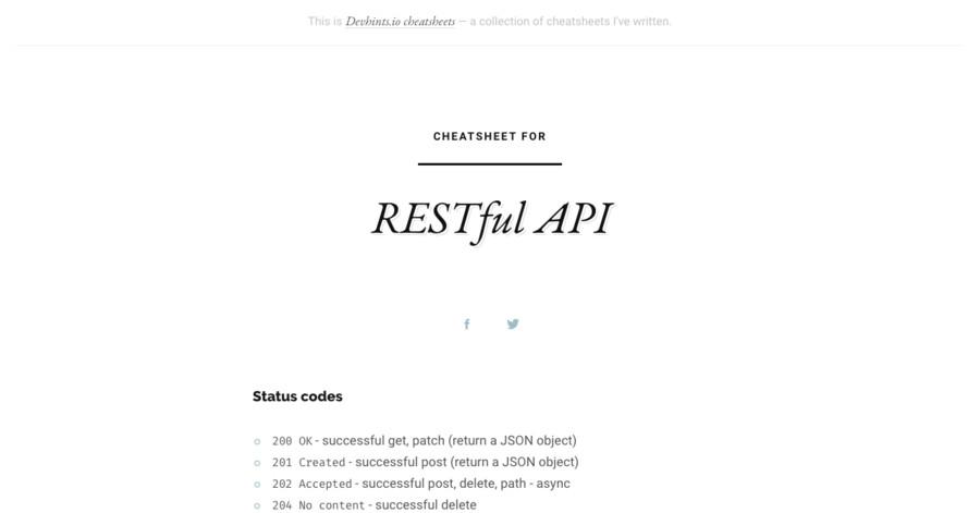 RESTful API cheatsheet