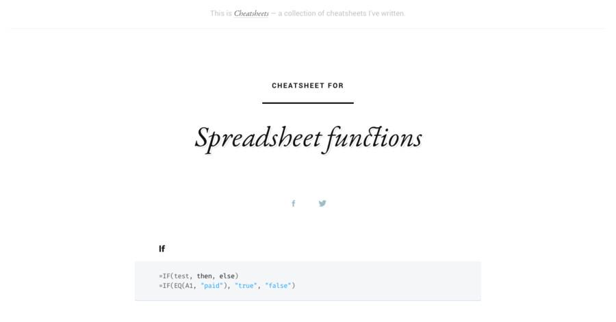 Spreadsheet functions 速查表