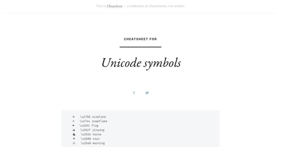 Unicode symbols cheatsheet