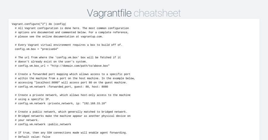 Vagrantfile cheatsheet