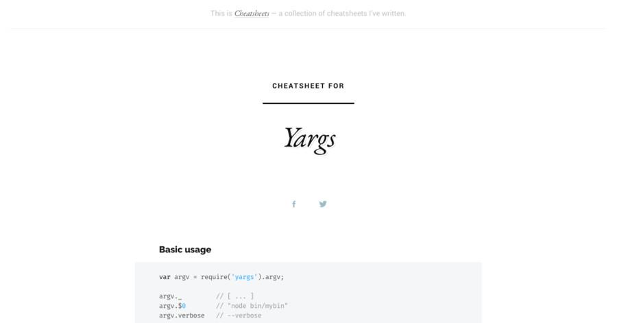 Yargs cheatsheet